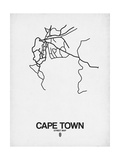 Cape Town Street Map White Posters af  NaxArt