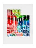 Utah Watercolor Word Cloud Plakat av  NaxArt