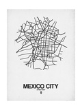 Mexico City Street Map White Kunstdruck von  NaxArt
