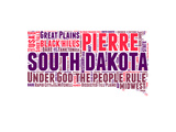 South Dakota Word Cloud Map Premium Giclee-trykk av  NaxArt