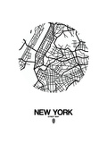 New York Street Map White Posters par  NaxArt