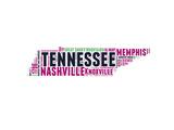 Tennessee Word Cloud Map Plakat av  NaxArt