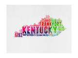 Kentucky Watercolor Word Cloud Kunst av  NaxArt