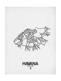 Havana Street Map White Affiche par  NaxArt