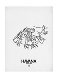 Havana Street Map White Prints by  NaxArt
