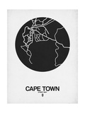 Cape Town Street Map Black on White Plakater af  NaxArt