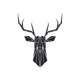 Black Polygon Deer Posters af Lisa Kroll