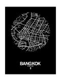 Bangkok Street Map Black Poster von  NaxArt