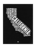 California Black and White Map Premium Giclee-trykk av  NaxArt