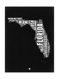 Florida Black and White Map Prints by  NaxArt