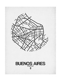 Buenos Aires Street Map White Pôsters por  NaxArt