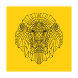 Lion Head Yellow Mesh Lámina por Lisa Kroll