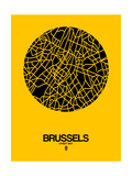 Brussels Street Map Yellow Affiches par  NaxArt