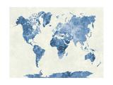 World Map in Watercolor Blue Reproduction procédé giclée par  paulrommer