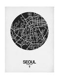 Seoul Street Map Black on White Poster von  NaxArt