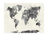 World Map in Watercolor Gray Schilderijen van  paulrommer