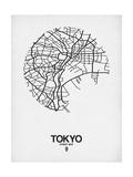 Tokyo Street Map White Plakater af  NaxArt