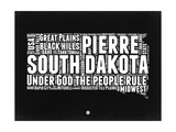 South Dakota Black and White Map Premium Giclee-trykk av  NaxArt
