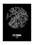 Ottawa Street Map Black Giclée-Premiumdruck von  NaxArt