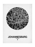 Johannesburg Street Map Black on White Láminas por  NaxArt
