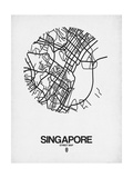 Singapore Street Map Blue Kunstdrucke von  NaxArt