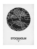 Stockholm Street Map Black on White Affischer av  NaxArt