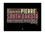 South Dakota Word Cloud 2 Premium Giclee-trykk av  NaxArt