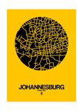 Johannesburg Street Map Yellow Giclée-Premiumdruck von  NaxArt