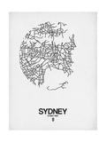 Sydney Street Map White Pôsters por  NaxArt