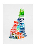 New Hampshire Watercolor Word Cloud Prints by  NaxArt