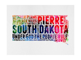 South Dakota Watercolor Word Cloud Premium Giclee-trykk av  NaxArt