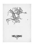 Helsinki Street Map White Print by  NaxArt