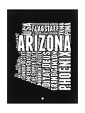 Arizona Black and White Map Plakater av  NaxArt