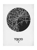 Tokyo Street Map Black on White Poster von  NaxArt