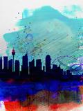 Sydney Watercolor Skyline Plastikschild von  NaxArt