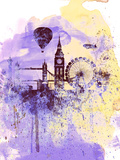 London Watercolor Skyline Plastikschild von  NaxArt