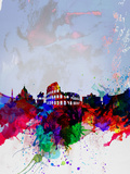 Rome Watercolor Skyline Plastikschild von  NaxArt