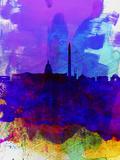 Washington DC Watercolor Skyline 2 Plastic Sign by  NaxArt