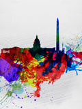 Washington DC Watercolor Skyline 1 Plastic Sign by  NaxArt