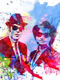 Blues Watercolor Plastikskilt af Anna Malkin