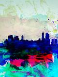Melbourne Watercolor Skyline 2 Plastikschild von  NaxArt