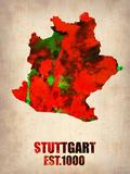 Stuttgart Watercolor Poster Placa de plástico por  NaxArt