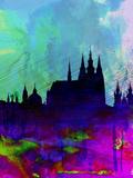 Prague Watercolor Skyline Plastikschild von  NaxArt