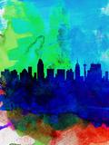San Antonio Watercolor Skyline Plastikschild von  NaxArt
