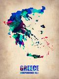 Greece Watercolor Poster Plastikskilt af  NaxArt