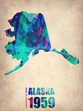 Alaska Watercolor Map Plastskilt av  NaxArt