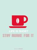 Coffee Poster Red Plastikschild von  NaxArt
