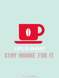 Coffee Poster Red Targa di plastica di  NaxArt