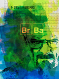 Walter White Watercolor 2 Plastic Sign by Anna Malkin