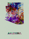 Arizona Color Splatter Map Plastskilt av  NaxArt